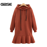 GIBSIE Plus Size Women Clothing 5XL 4XL XXXL Pleated Hoodies Dress Casual 2017 Winter Ladies Drop