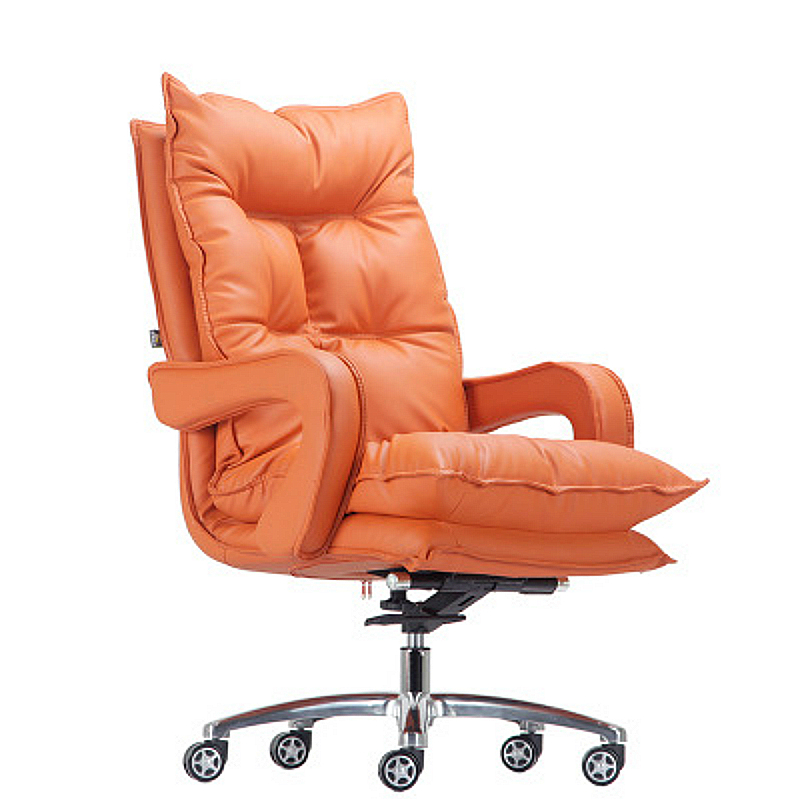 Thicken Double Layer Office Boss Chair Lifted Rotated Household Reclining Computer Chair Simple Style PU Leisure Swivel Chair