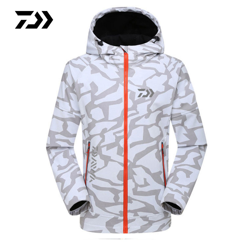Autumn Winter Daiwa Fishing Jacket Camouflage Thermal Waterproof Clothing Windproof Soft Shell Fishing Coat Men Outdoor