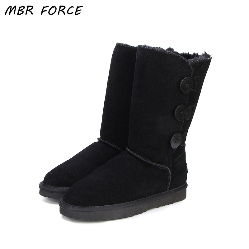 MBR FORCE Classic Women  Snow Boots Leather Winter Shoes Boot with Black Chestnut Gray  Women's Fur High Snow Boots US 3-13