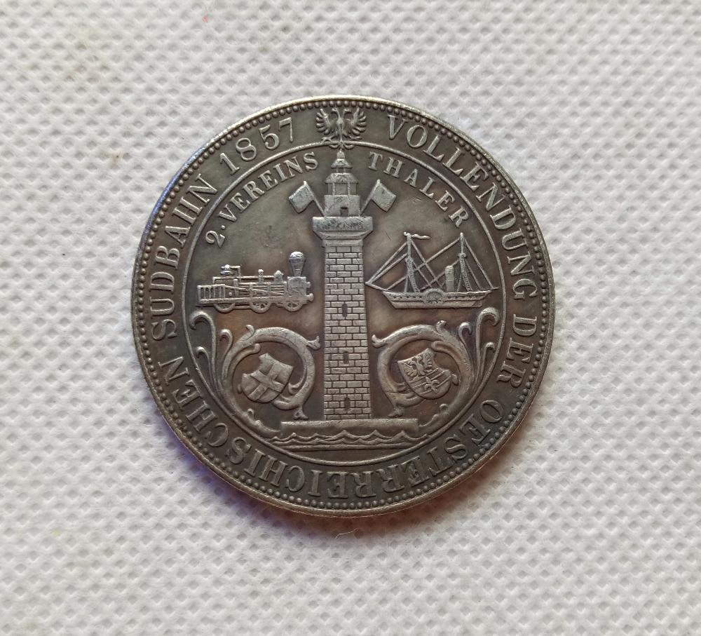 1857 Austria - Habsburg 2 Vereinsthaler - Franz Joseph I (South Austrian Railways) COPY COIN