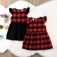 ebbcd62f2 Recién Nacido bebé Niñas Ropa de cuadros rojo y negro vestido para niñas  niños fiesta desfile