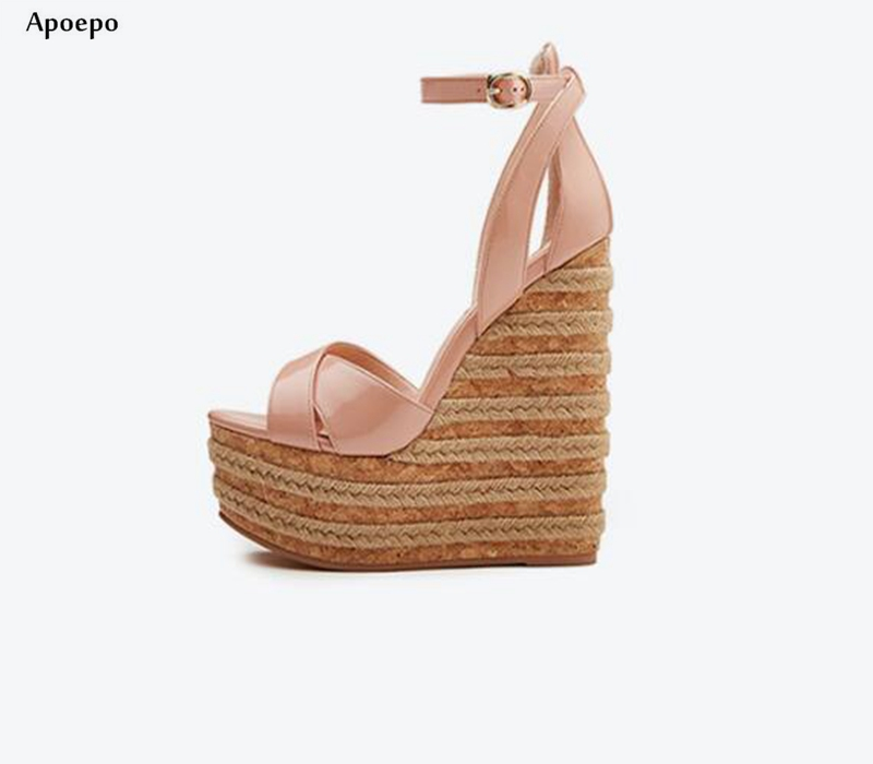 New Fashion Patent leather wedge Sandal for Woman Super High Ankle Strap Platform Shoes Rope Braided Buckle Strap Summer Shoe egonery patent leather strap buckle peep toe platform square high heels fashion summer style sandal woman shoes party womens