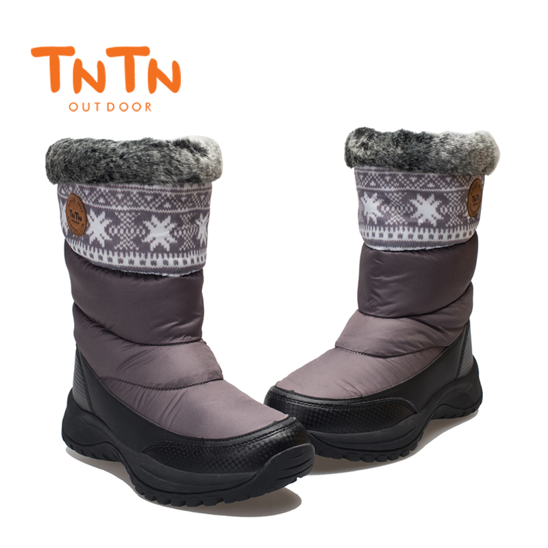 TNTN 2017 Winter Outdoor Boots Feathers Waterproof Hiking Boots Womens Fleece shoes Snow Womens Shoes Warm