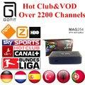 MAG254 Caja IPTV IPTV 2200 + Canales de Holanda Turco Alemán España Portaguese Albanés Club y VOD IPTV Adulto Caliente Conjunto Top Box