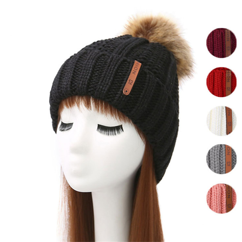Fashion PomPom hat Winter Hat Women Knitted   Beanies   Caps Thick Warm   Skullies     Beanies   Women Thick Female Hat knitted hat