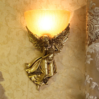 Classic LED Angel Wall Lamp Gold Resin Wall Light New Fixture Lights For Bedroom Corridor Art Home Wall Sconces G736