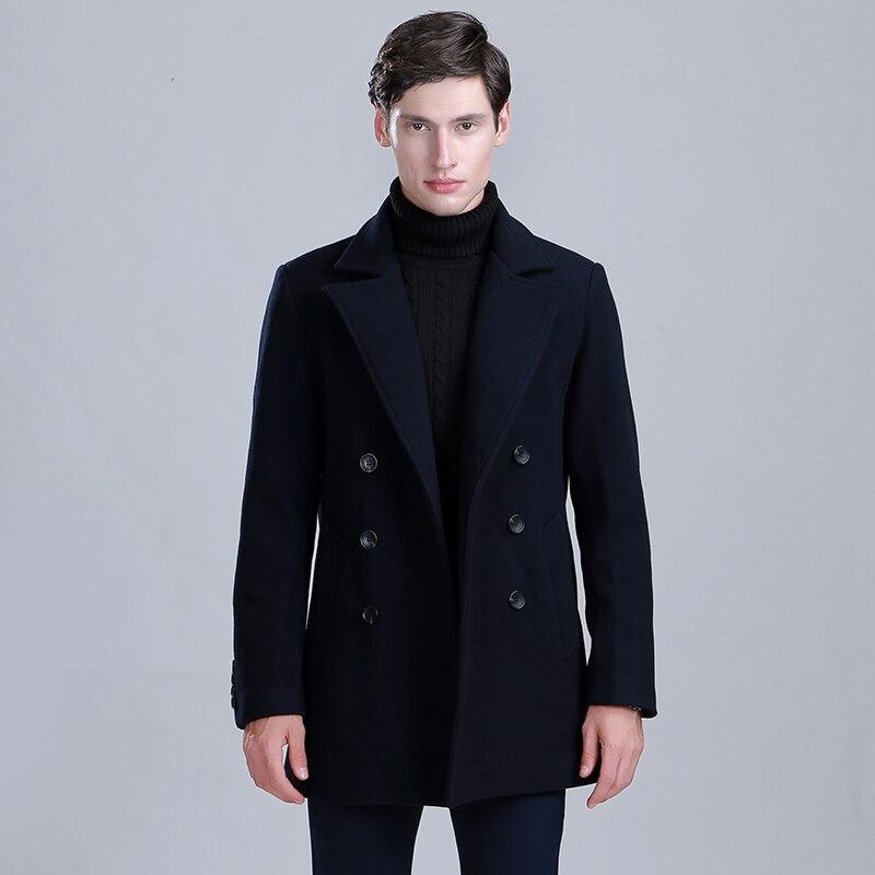 Thick Medium Long Wollen Men Coat Winter