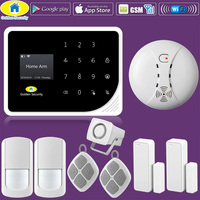 Golden Security S5 WIFI GSM Alarm Systems Security Home Smoke Fire Alarm Detector APP Control PIR