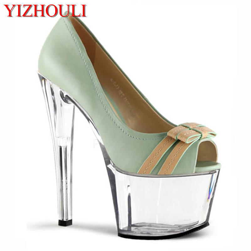 17cm super high heels, thin and fish-mouth crystal single shoes, hate sky-high bow tie, dancing shoes