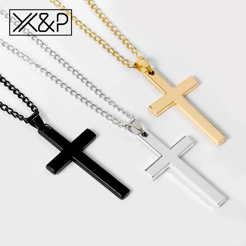 X&P Crystal Cross Long Gold Chains Necklaces for Women Men 2019 Fashion Christian Stainless Steel Link Chain Necklace Jewelry(China)