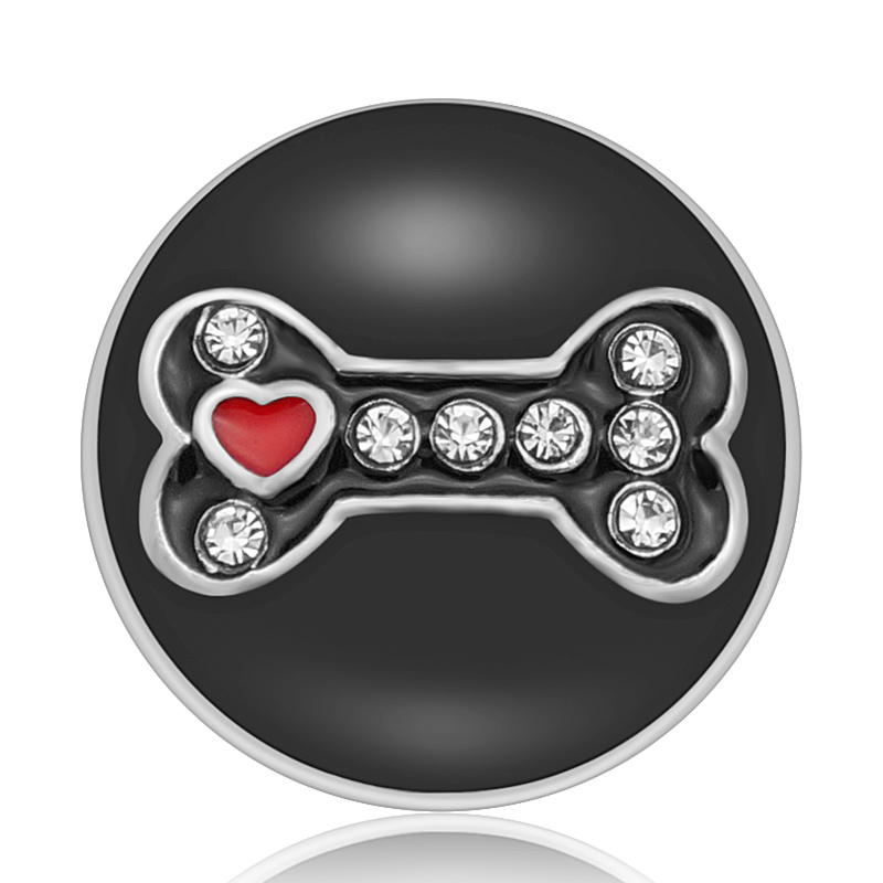 KZ1488 New Beauty Black Oil Bone Love Dog Rhinestone Metal 20mm Snap Buttons Fit 18mm Snap Jewelry Wholesale