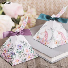 Unicorn Triangular Pyramid Wedding Favors Candy Boxes Bomboniera Party Gift Box beer Chocolate Box With Ribbons & Tags(China)