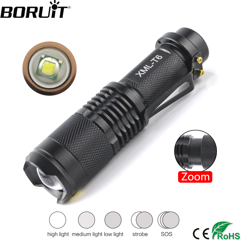 все цены на BORUiT 800LM XML T6 LED Mini Flashlight 5-Mode Zoom Torch Bicycle Flash Light Cycling Camping Portable Lantern 18650 Battery онлайн