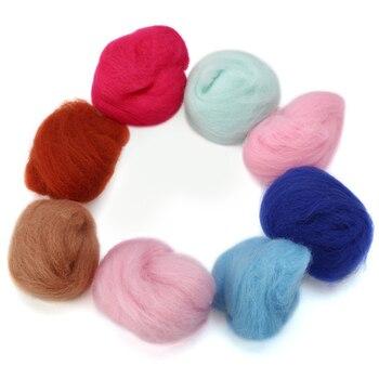 40 colores Merino lana Tops fieltro fibra para la aguja fieltro húmedo DIY diversión muñeca costura fieltro lana cruda 5 g/bolsa