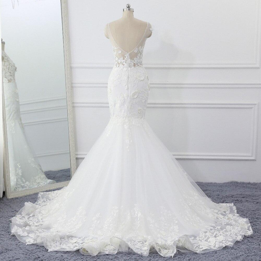bd02c97c8a Amante beso Robe de Mariage 3D flores boda Vestido Sexy de encaje de sirena  de boda vestidos de novia ver a través de Vestido de novia 2019 en Vestidos  de ...