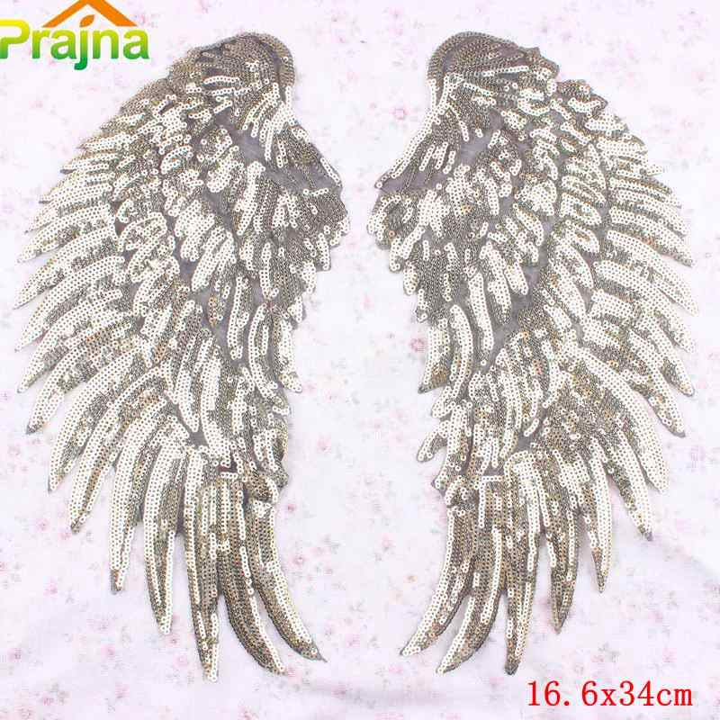 Dosige 1 Pair Fashion Angel Wings Embroidery Applique Clothes Patches for Girls Skirt//Shirt//Coat Delicate Black + Large
