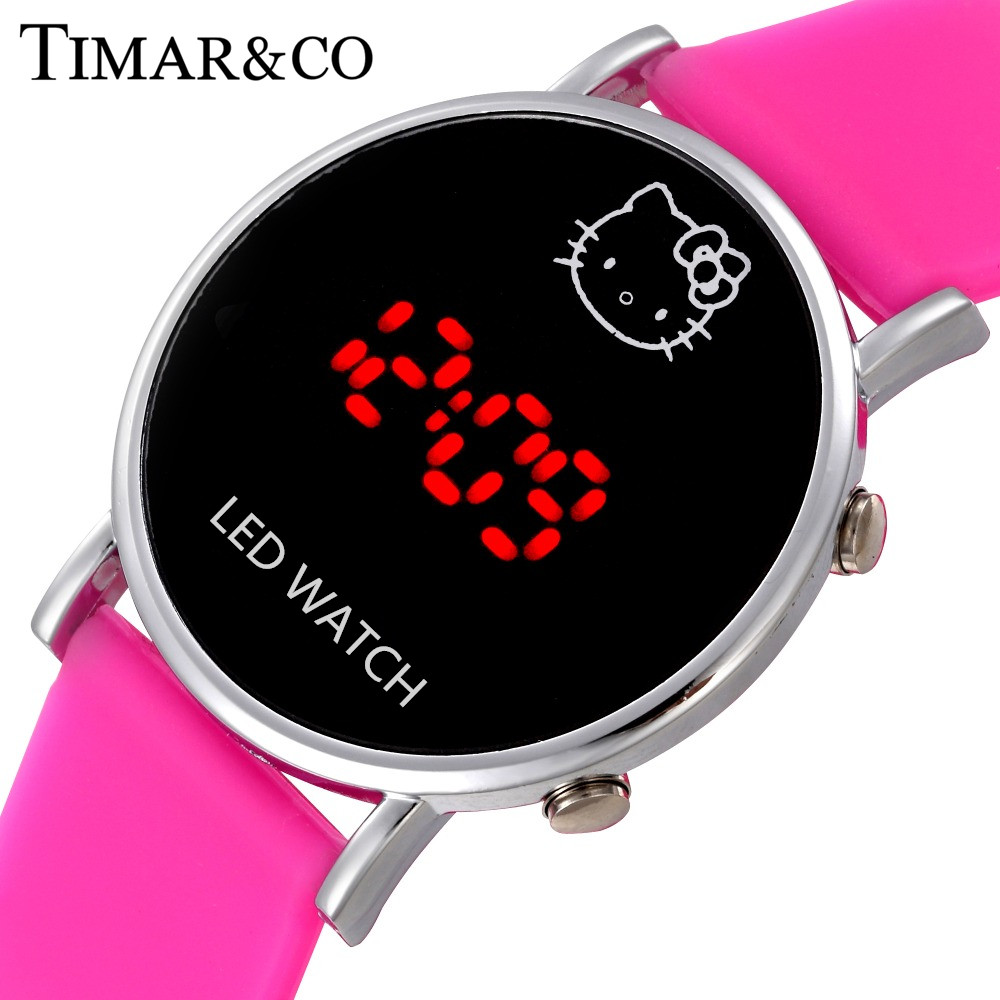 Hello Kitty Watch Women Casual LED Digital Watches Fashion Cartoon Children Ladies Wrist Watches Sports Clock relogio feminino hello kitty clock women dress watch hello kitty cartoon watches stainless steel watch women rhinestone watches kids