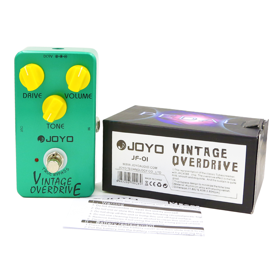 JOYO JF-01 Vintage Overdrive Guitar Effect Pedal For Electric Guitarra True Bypass joyo blue rain overdrive electric guitar effect pedal true bypass ironman jf 311 with free 3m cable