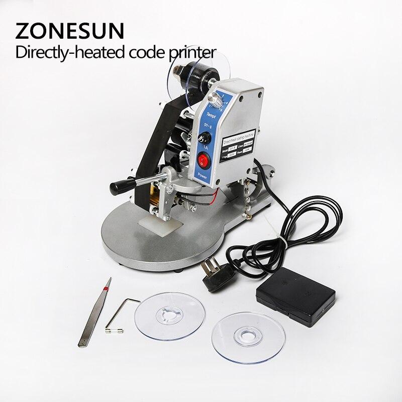 Machine de codage de date ZONESUN imprimante de code de date d'expiration manuelle, codeur de timbre Foll chaud, machine de date d'expiration - 3