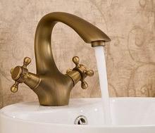 Freies Verschiffen Antike bronze Messing Wasserhahn klassischen Europäischen kupfer wasserhahn waschtischmischer warmen und kalten wasserhähne bad wasserhahn