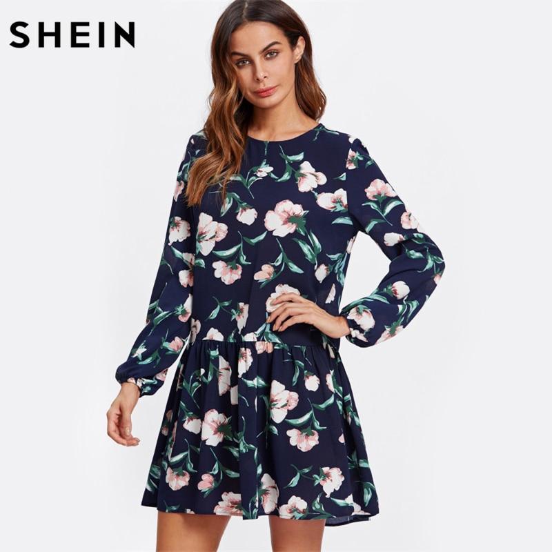 8b9c43641d Αγορά Φορέματα | SHEIN Allover Flower Print Drop Waist Dress Ladies Navy  Long Sleeve Autumn Womens Dresses Elegant Floral A Line Dress