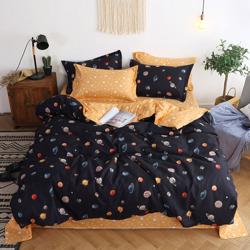 Planet Star 4pcs Girl Boy Kid Bed Cover Set Duvet Cover Adult Child Bed Sheets And Pillowcases Comforter Bedding Set 2TJ-61005