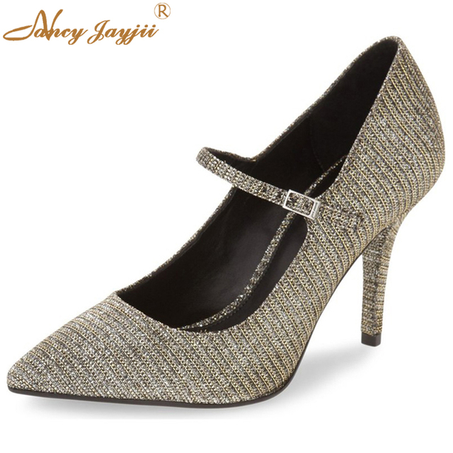9a6534ef275 Nancyjayjii Suede Mary Janes Black Gold Stiletto High Heel Shoes Sexy  Fashion Pumps Women Shoes Zapatos Mujer semelle rouge 80mm