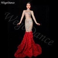 Леди певица горный хрусталь длинный шлейф платье выпускного вечера звезда День Рождения певица платья женщина