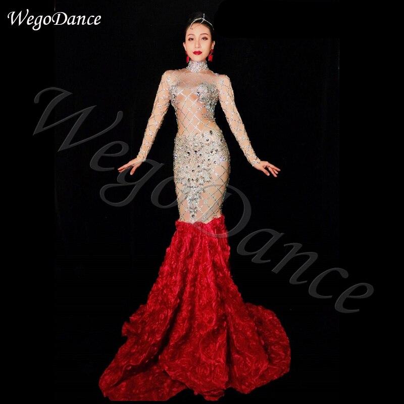 Lady chanteur Costume strass longue traînée robe bal étoile fête d'anniversaire chanteur robes femme