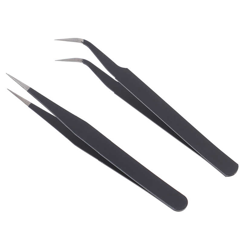 Set Micro Point Curved /& Straight Tweezers Fine Tip Stainless Steel AL
