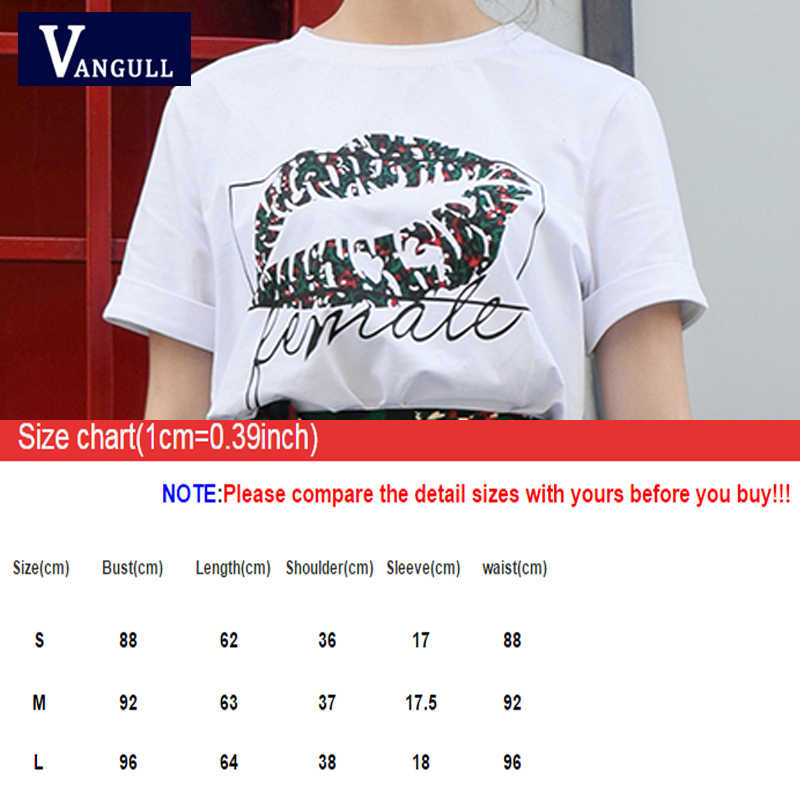 Vangull/лето 2019, новые корейские сексуальные женские футболки с принтом губ, белые футболки с короткими рукавами и круглым вырезом, универсальные Свободные топы для студентов