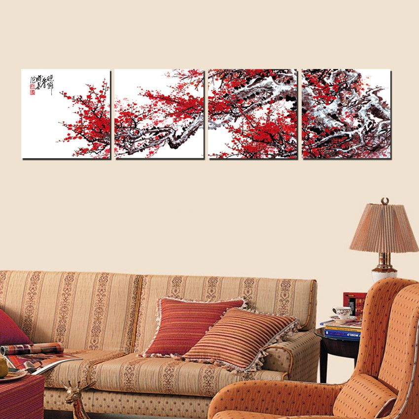 Home decoration 4 pieces no frame art picture canvas print for House decoration pieces