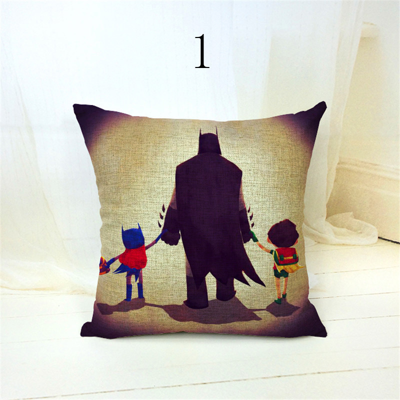 New Arrival Hot Sale Cartoon Super Hero Printed warm Home Textiles Cotton Linen Pillow Case Cushion Cover cojines in Cushion Cover from Home Garden