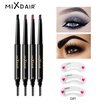 MIXDAIR Eyebrow Enhancer With Stencil Eyes Make Up Tools Cosmetics Natural Long Lasting Paint Waterproof Black Eyebrow Pencil