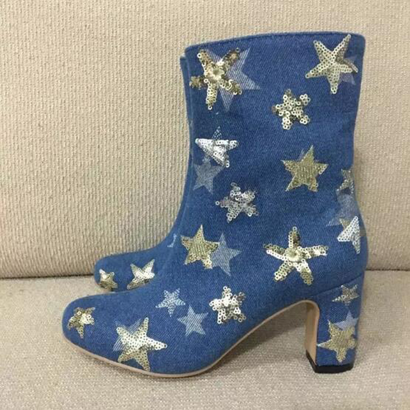 2017 High Quality Denim Spring Autumn Dress Shoes Women Fashion Round Toe High Heel Booties Mujer Stars Embellished Ankle Boots hot sale vintage round toe high heel cowboy booties mujer fringe rivets embellished ankle boots wedding party dress shoes women