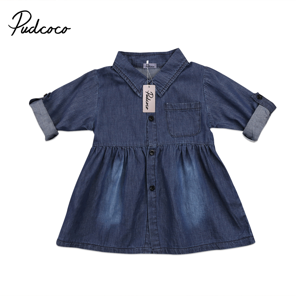 Helen115 Lovely Kids baby girl clothes Denim Jeans Casual Long Sleeve Dresses Outfits 1-5Years 2 8y girl kids lovely denim blue