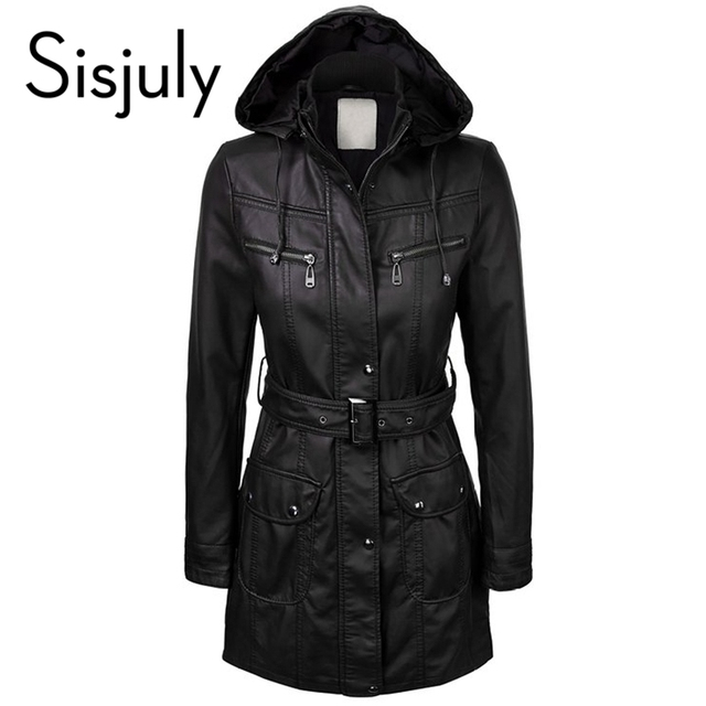 Sisjuly women jacket coat winter autumn zippers black women tops long sleeve fashion slim cap female jacket coat belt  2017