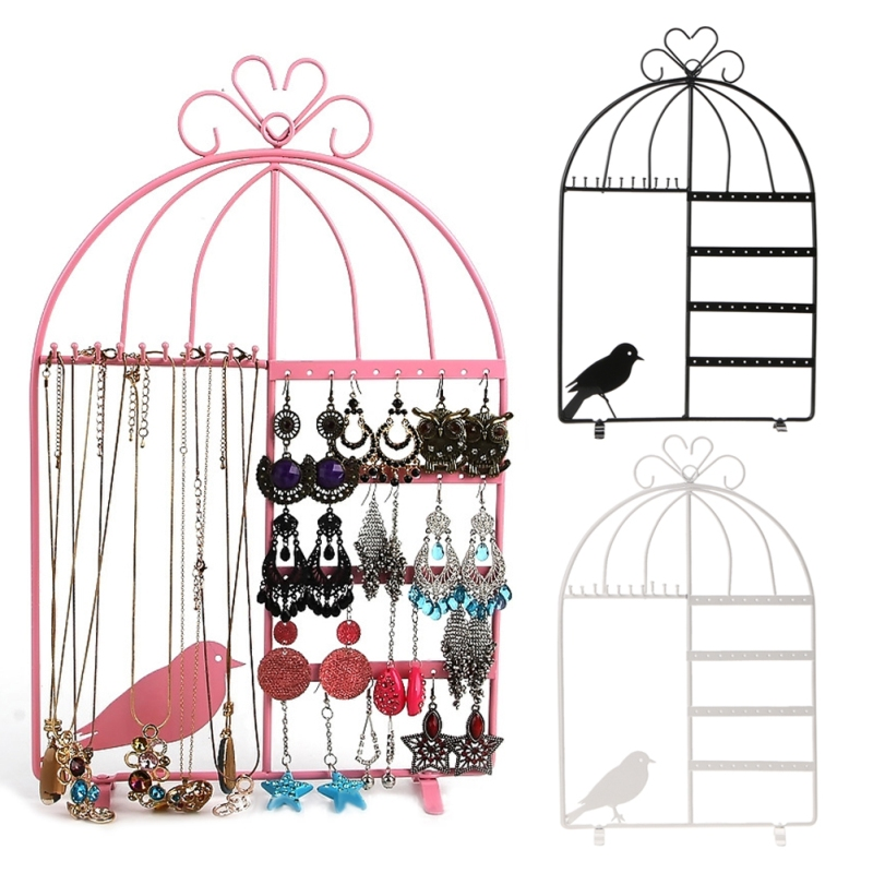Iron Wall Jewelry Earring Organizer Hanging Holder Necklace Display Stand Rack White Pink Cute Bird Stand Display Organizer