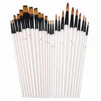 24 Uds pinceles brochas para pintura al óleo pelo de Nylon mango de madera pincel arte acuarela acrílico pintura al óleo suministros