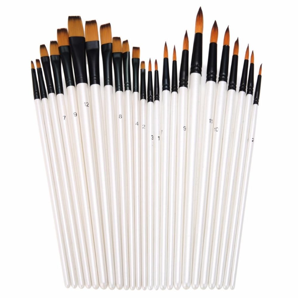 24 stücke Pinsel Öl Pinsel Nylon Haar Holzgriff Pinsel Kunst Aquarell Acryl Öl Malerei Lieferungen