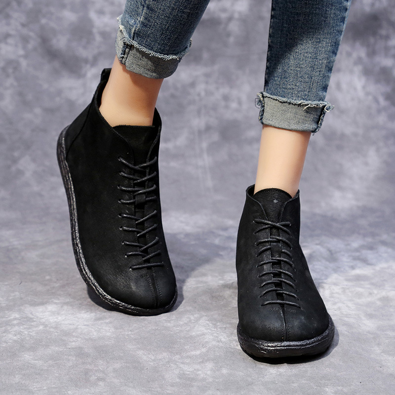 2018 Fashion Handmade Boots For Women Genuine Leather Ankle Shoes Vintage Mom Shoes Retro Folk Style Martin Boots tastabo 2017 fashion handmade boots for women ankle shoes vintage mom shoes folk style sapphire genuine leather women boots