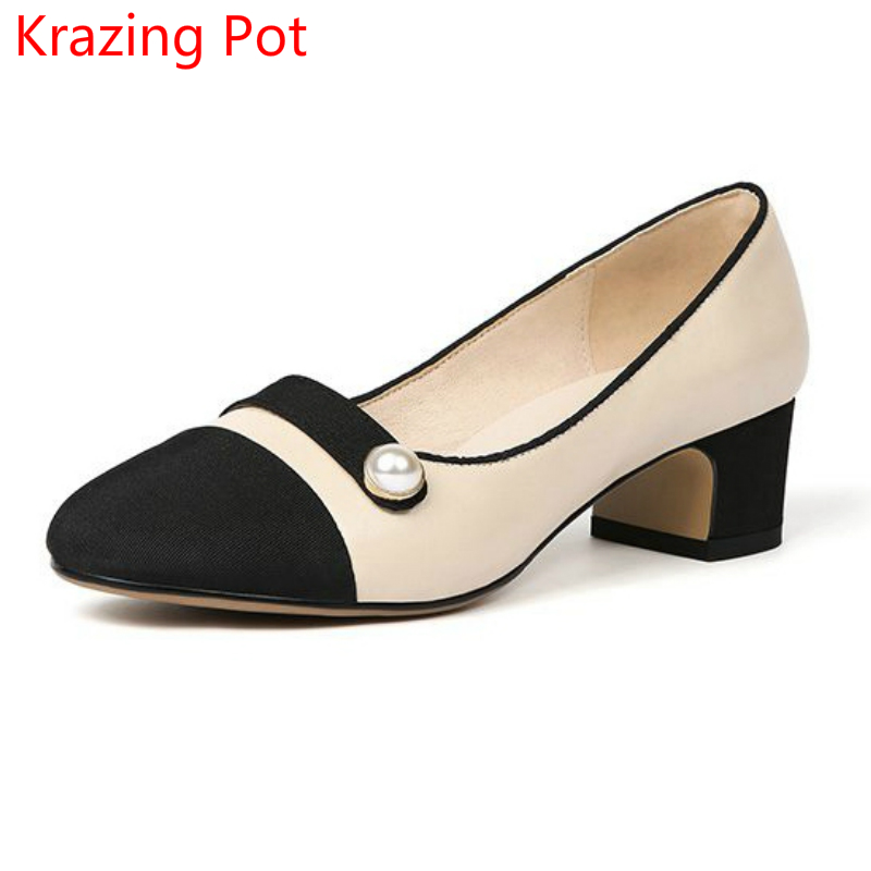 2018 Fashion Genuine Leather Pearl Mixed Colors Shoes Woman Shallow Round Toe High Heels Elegant Runway Superstar Women Pumps L3 choudory fashion mixed colors chunky high heels woman pumps spring autumn buckle casual round toe shallow zapatos mujer tacon