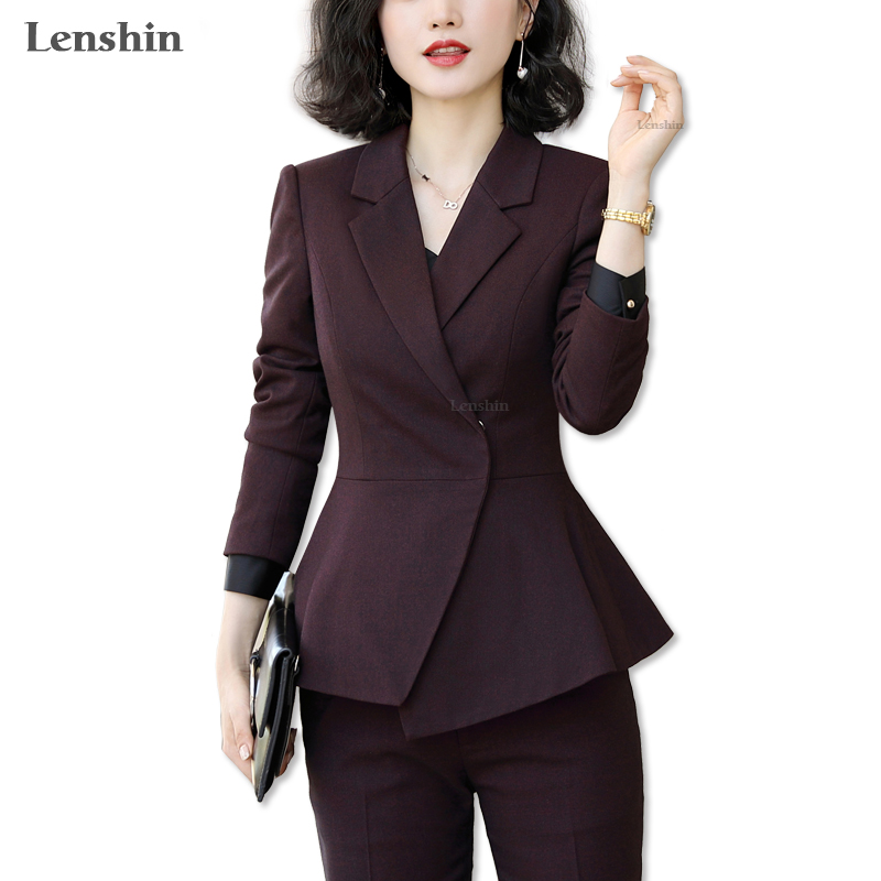 Lenshin Soft And Comfortable 2 Pieces Set Formal Pant Suit For Women Work Wear Office Lady Style Business Jacket With Pants