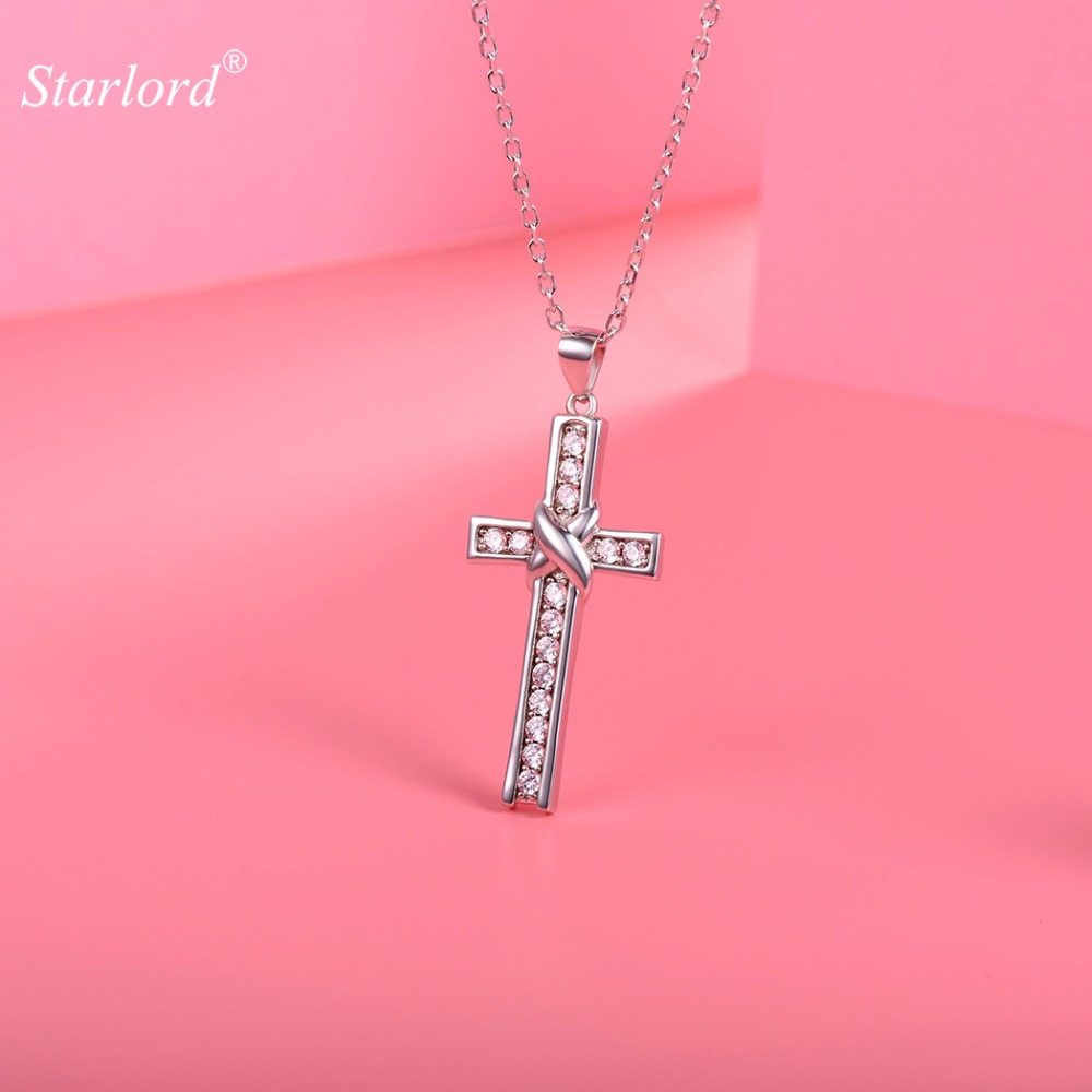 Crystal Cross Necklace 925 Sterling Silver AAA Cubic Zirconia Christian Jewelry Silver Cross Necklace For Women P6003B недорго, оригинальная цена