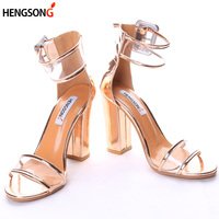 2017 Newest Women Pumps Shoes Sexy Clear Transparent Strappy Buckle Sandals High Heels Shoes Party Shoes
