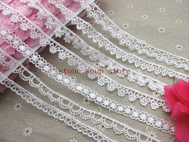 5yards/lot White Water soluble Embroidered Lace Trim Clothing Sewing  Accessories neck lace Diy Handmade