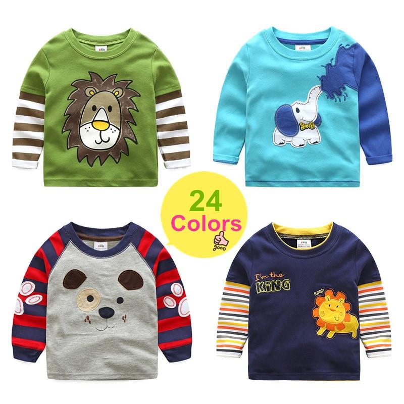 2018 printemps automne pour 2-8 9 10 ans enfants coton rayé couleur Patchwork dessin animé Animal bébé enfants garçons à manches longues T-Shirts