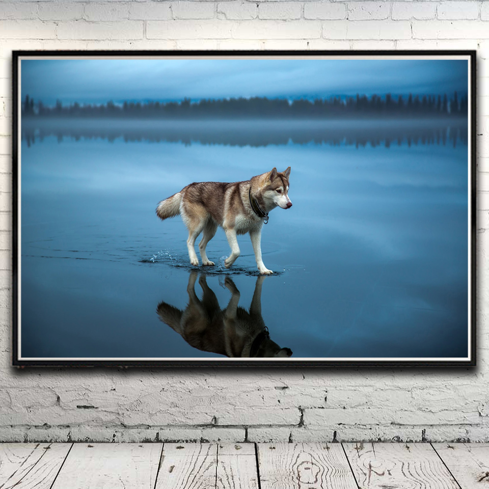 Husky Price Buy Cheap Dog Siberian Husky Lake Trees Forest Clouds Art Silk
