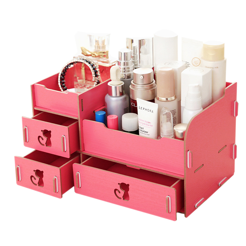 YOUUD Cat Style Drawer Wood Storage Box Makeup Jewelry Boxes DIY Handmade Organizer Container Case For